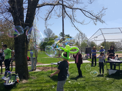 A picture of Absolute Science bubbles in a community setting
